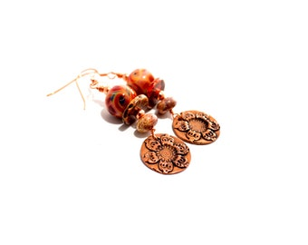 Colorful Glass Bead Earrings. Copper Charms. Long Dangle Earrings. Boho Rustic Earrings. Lampwork Jewelry.
