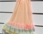 Vintage 1960's MOD Mini Babydoll Pink Nightie w/Multicolored Ruffles & Bows- Naughty Lingerie-Size SM