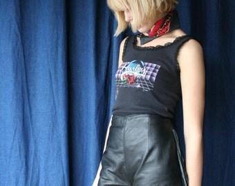 SALE 1980's Leather Shorts / Long Fringe Hot Pants / Harley Davidson Style High Waisted 80's Shorts / Biker Babe / Seventies Style