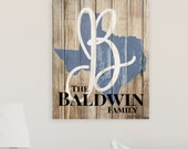 Personalized Rustic Sign Family Name Sign State Shape Sign 16x20