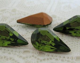 13x8 Pear Swarovski Rhinestone Olivine Green Teardrop Shape Qty 4