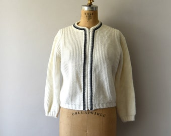 Vintage 1950s Sweater - 50s White Knit Cardigan Sweater