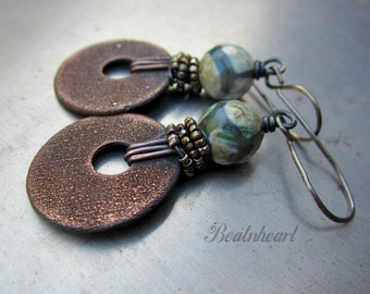 Publeo artisan boho copper rustic grungy distressed copper discs agate beads