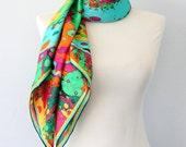 Silk scarf Luxury gift for her Colorful bright print Summer fashion Pure silk scarves Large head wrap Lime green turquoise blue neck scarf