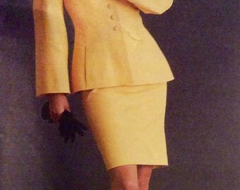 Vogue Paris Original Designer Sewing Pattern Lagerfeld Top and Skirt Suit Uncut 1994 Size 10