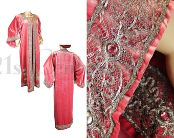 Edwardian Opera Coat. Jewelled Pink Velvet with Silver Lamé Lace and Lamé Roses. Beautiful RARE colour. Art Nouveau. 1910s. 1920s.