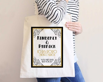 Wedding Bags, Bulk Favor Bags Wedding Favors Welcome Bags for Guests at Wedding Great Gatsby Totes (Item - DTP300)