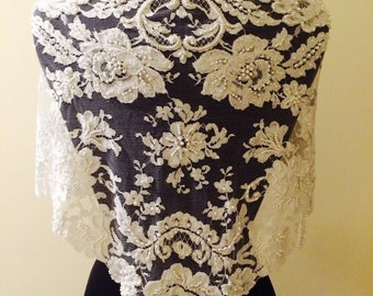 SALE!!! Bridal Shawl - Vintage Alencon Lace Cover-Up - Ready to Ship