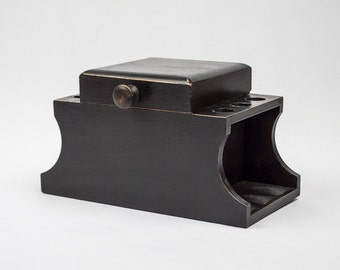 Smoking Pipe Stand with Cedar Lined Tobacco Humidor Hand Painted Black with Light Distressing