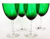 Vintage Fostoria Wine Goblets Water Goblets  Art Deco Green Stemware Pair of Large Wine Glasses Tall Stem