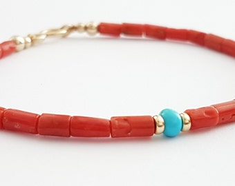 Red Sardinian Coral Bracelet, Beaded Coral and Turquoise Bracelet, Coral Jewelry, Handmade, Stacking Gemstone Bracelet, Venexia Jewelry