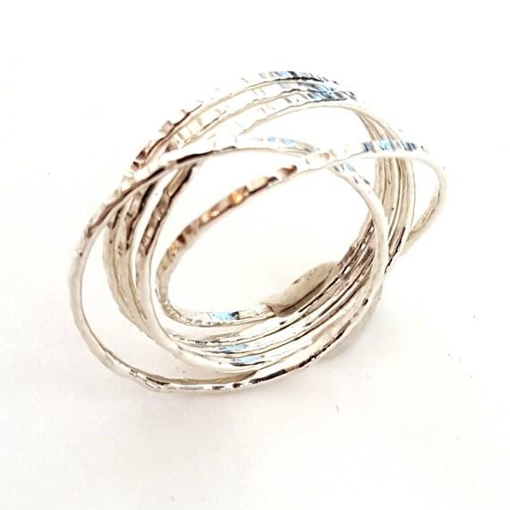 silver interlocking stacking ring russian by venexiajewelry