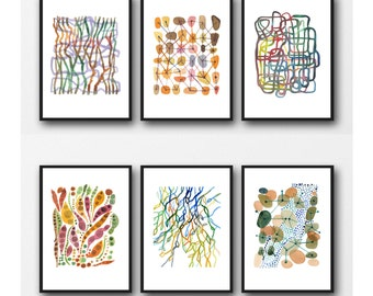 Colorful Home Decor, Set of 6 Prints, Abstract Watercolor Paintings, Abstract Art Prints, Watercolor Prints