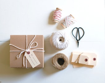 DIY Gift Wrapping Kit : strings + ribbons + tags + scissors