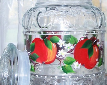 Cookie Jar glass with Hand Painted Red Apples
