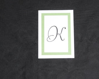 Hand Stamped Note Cards with Swarovski Crystals and Initial