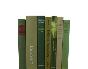 Green Tan Vintage Books, Wedding Decor, Home Decor, Decorative books, old books, library decor, stack of books, Bookshelf Decor