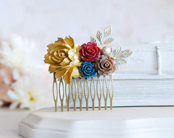 Fall Winter Wedding Bridal Hair Comb, Gold Burgundy Red Navy Blue Brown Flowers Collage Hair Comb, Barn Country Wedding Hair Accessory