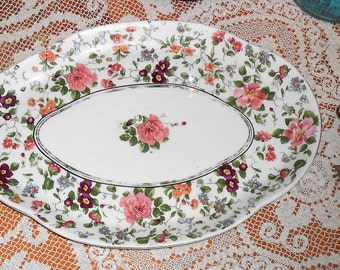 Antique vintage Beautiful Floral Roses Oval Serving Plate