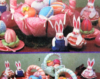 Vintage Simplicity 5870 Sewing Pattern, Bunnies Pattern, Easter Pattern, Easter Basket, Easter Centerpieces, Holiday Decor, Fabric Bunnies