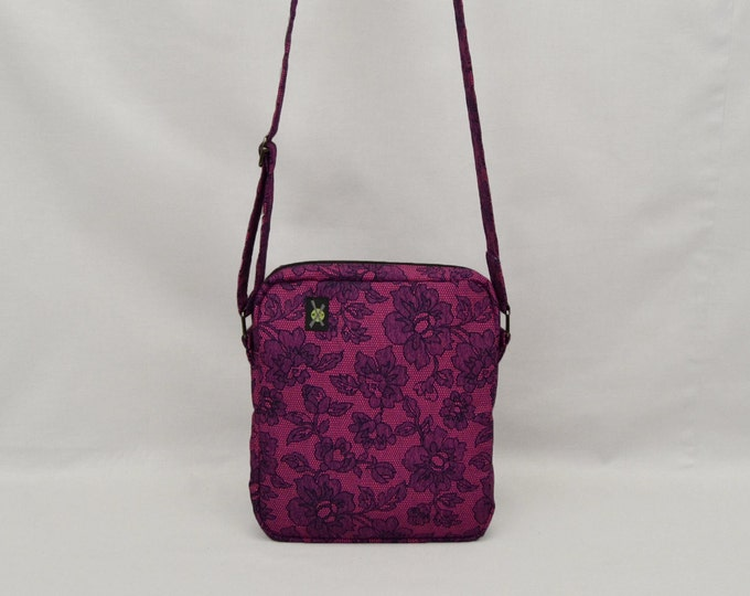 Small Crossbody Bag with Zipper, Purple Black, Glam Rock, Goth Lolita, Travel Purse, Flower Lace Pattern, Ready To Ship