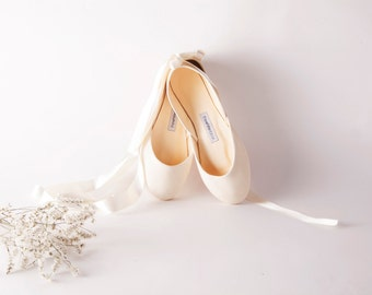 The Wedding Shoes with Satin Ribbons | Bridal Flat Shoes | Pointe Style Lace Up Ballet Shoes | Wedding Ballet Flats in Vanilla Ivory
