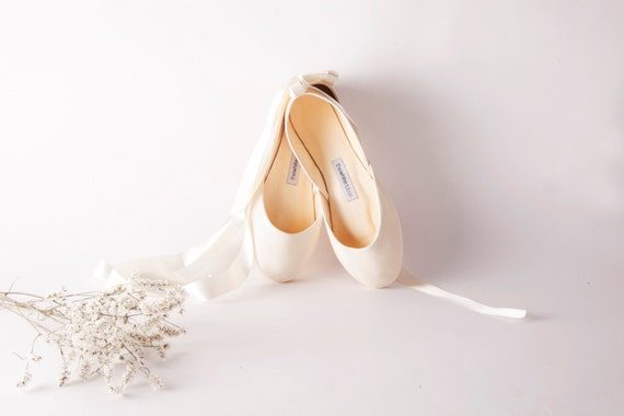 Bridal Ballet Flats | Ballerina Style Wedding Shoes | Pointe Shoes | Vanilla Ivory with Satin Ribbons...Made to Order