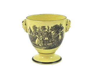 Vintage Pedestal Bowl - Black Transfer on Yellow, Urn Style Bowl, Mask Head Detail, Mottahedeh Bowl, Italy, c.1970s