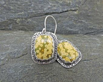 Yellow Ocean Jasper Earrings, Yellow & Green Earrings, Orbs, Dots, Circles, Modern Earrings, Casual Earrings, Handcrafted, Sterling Silver