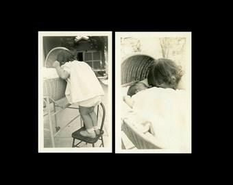 "2 pc - Vintage Photo ""Baby Kisses"" Snapshot Photo Old Antique Photo Black & White Photograph Found Paper Ephemera Vernacular - 199"