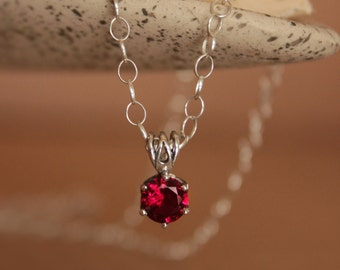 Elegant Ruby Minimalist Silver Necklace - Red Pendant and Chain - Red Bridesmaid Pendant - July Birthstone Pendant Necklace - Red Wedding