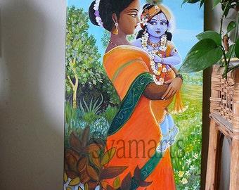 yasoda krishna prints any size devotional art dreamy bokeh familly mother and child relationship madonna love wall art