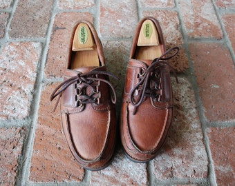 Vintage Mens 9m RocSports Rockport Brown Leather Lace Up Loafers Boat Deck Shoes Summer Fall Hipster Preppy Dress Casual Student Top Sider