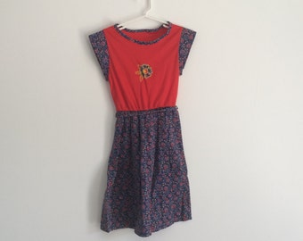 1970s girls boho chic calico dizty print hippie cap sleeve dress