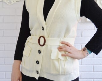 Vintage 1960s Cream Sweater Vest with Buttons, Pockets and Belt by Society Size Small or Medium