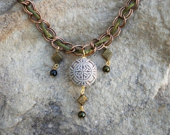 Celtic Knotwork Statement Necklace -- Chain and Green Silk
