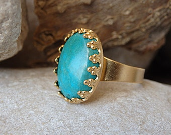 Adjustable Turquoise Ring, Oval Gold Ring with Turquoise Stone, Turquoise Statement Ring, Gold Turquoise Ring, December Birthstone Ring