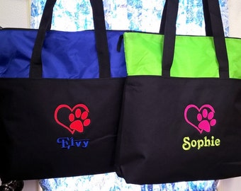 Dog or Cat Tote Bag Pet Travel Monogrammed Name Embroidered