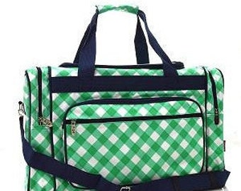 Personalized Duffle Bag Mint Greenl Plaid Navy Accents