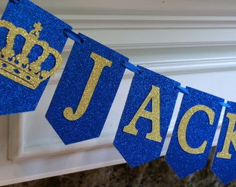 Royal Blue and Gold Banner, Name Banner, Little Prince Party Banner, Prince Birthday Banner, Gold and Royal Blue Prince Party Theme (PRIN-2)