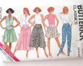 Plus Size Culottes Skirt Pants Pattern, Butterick 4657, Womens Yoked Mini Skirt Tapered Pants Sewing Pattern. Size 18-22 Waist 32-37 UNCUT