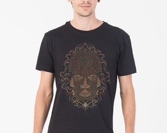 Black T shirt, Psychedelic Shirt, Trimurti, Trippy, Festival Shirt, Burning Man, Mens Tshirt, Glow In The Dark, Uv Reactive
