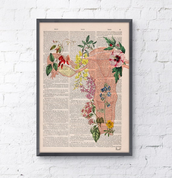Summer Sale Uterus Flowery collage -Woman gift - Medicine student gift art, Anatomical home decor, Pregnancy gift SKA111