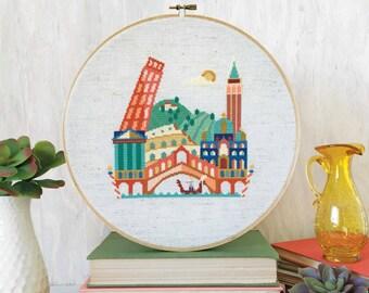 Pretty Little Italy : Satsuma Street Jody Rice cross stitch patterns Pantheon Colosseum Tower of Pisa Barcelona Venice embroidery wall art