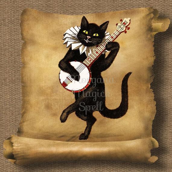 Vintage Cat with Banjo Royalty Free Clip Art