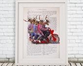 Deer Print, Deers on a motobike, Antler, Stag Artwork, A4 size, Gift for Men, Wall Art Prints, Deer Antlers, Christmas Deer