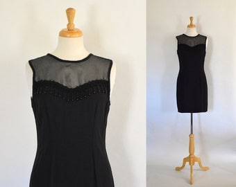 Vintage 90s Dress / Black Sheath Dress / Black Evening Dress / 90s Party Dress / Size Small