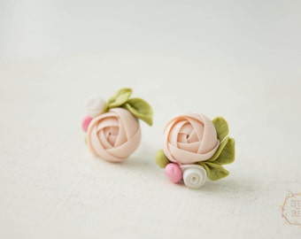 Ivory Pink Ranunculus Stud Earrings Wholesale Small Hypoallergenic Polymer Clay Studs Women Birthday Wedding Bridal Birthday Gifts