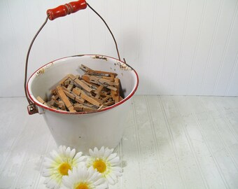 Vintage Red on White Enamelware Rustic Round Bucket & 180 Clamping Clothes Pins - Primitive Pail Farm Fresh Catch All for Laundry Room Decor