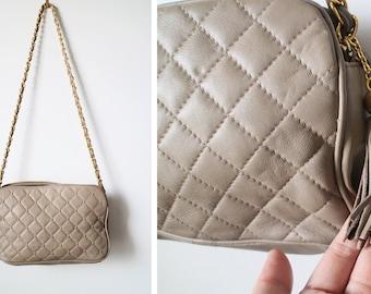 Vintage 80s Taupe Quilted Gold Studded Chain Strap Shoulder Bag